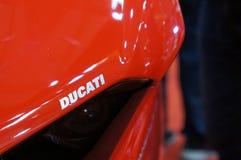 DUCATI emblem and logos at the Ducati motorcycle body. KUALA LUMPUR, MALAYSIA -MARCH 24, 2018: DUCATI emblem and logos at the Ducati motorcycle body. DUCATI is royalty free stock image
