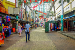 Kuala Lumpur, Malaysia - March 9, 2017: Petaling street market, in the heart of the Chinatown of the city is a popular Stock Images