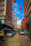 Kuala Lumpur, Malaysia - March 9, 2017: Petaling street market, in the heart of the Chinatown of the city is a popular Stock Photos
