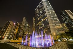KUALA LUMPUR, MALAYSIA - MARCH 11 2014. Petronas. Twin Towers at night on March 11, 2014 Stock Image