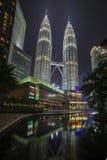 KUALA LUMPUR, MALAYSIA - MARCH 11 2014. Petronas. Twin Towers at night on March 11, 2014 Royalty Free Stock Photos