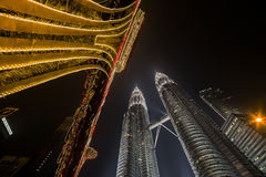KUALA LUMPUR, MALAYSIA - MARCH 11 2014. Petronas. Twin Towers at night on March 11, 2014 Royalty Free Stock Image