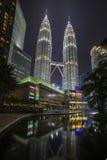 KUALA LUMPUR, MALAYSIA - MARCH 11 2014. Petronas Twin Towers at. Night on March 11, 2014 Royalty Free Stock Photos