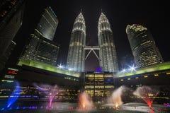 KUALA LUMPUR, MALAYSIA - MARCH 11 2014. Petronas Twin Towers at. Night on March 11, 2014 Stock Photo