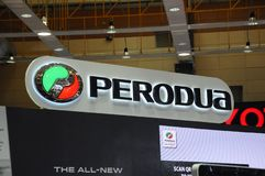 Selected focused on Perodua car and commercial brand emblem logos. KUALA LUMPUR, MALAYSIA -MARCH 23, 2018: Selected focused on Perodua car and commercial brand stock photography