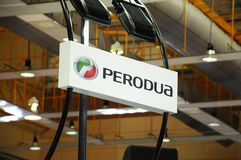Selected focused on Perodua car and commercial brand emblem logos. KUALA LUMPUR, MALAYSIA -MARCH 23, 2018: Selected focused on Perodua car and commercial brand royalty free stock photo