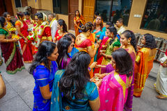 Kuala Lumpur, Malaysia - March 9, 2017: Unidentified people in a traditional Hindu wedding celebration. Hinduism is the Stock Photos