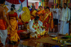 Kuala Lumpur, Malaysia - March 9, 2017: Unidentified people in a traditional Hindu wedding celebration. Hinduism is the Royalty Free Stock Photos