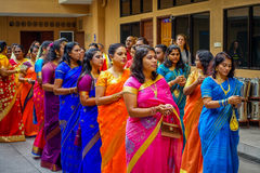 Kuala Lumpur, Malaysia - March 9, 2017: Unidentified people in a traditional Hindu wedding celebration. Hinduism is the Royalty Free Stock Image