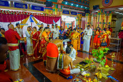 Kuala Lumpur, Malaysia - March 9, 2017: Unidentified people in a traditional Hindu wedding celebration. Hinduism is the Royalty Free Stock Photography