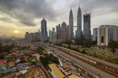 KUALA LUMPUR,MALAYSIA- MAY 2 2016: the KLCC buildings views from an apartment. This mosque is located at Malacca island Stock Photos