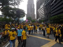KUALA LUMPUR, MALAYSIA - 19 NOV 2016: Thousands of Bersih 5 protesters on the city streets. Royalty Free Stock Photography