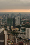 Kuala Lumpur, Malaysia - November 17. 2016: Dramatic scenery of the KualaLumpur city at sunset. View from the KL-Tower Menara . Stock Images