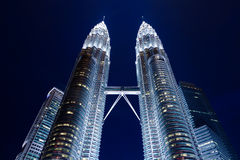 Kuala Lumpur, Malaysia - NOVEMBER 12: Famous view of Petronas Twin Towers at night on November 12, 2012. Royalty Free Stock Photos