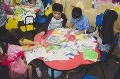 Close up preschool kids drawing Stock Image