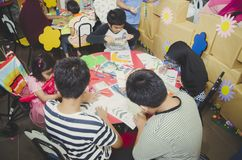 Group of cute little preschool kids drawing Stock Photos