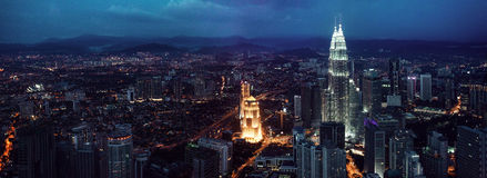 KUALA LUMPUR, MALAYSIA, NOVEMBER 22: Kuala Lumpur skyline at night, view of the centre  city from TV tower November 22 Stock Photo