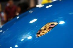 Porsche car logos and emblem at the car body. KUALA LUMPUR, MALAYSIA -NOVEMBER 25, 2018: Porsche car logos and emblem at the car body. High-performance sport royalty free stock photos
