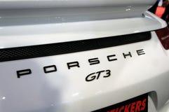 Porsche car logos and emblem at the car body. KUALA LUMPUR, MALAYSIA -NOVEMBER 25, 2018: Porsche car logos and emblem at the car body. High-performance sport stock photo