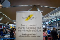 Royal Brunei airlines check-in counter at Kuala Lumpur International Airport. Kuala Lumpur, Malaysia -November 2017: Royal Brunei airlines check-in counter at Royalty Free Stock Images