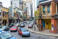Old buildings and narrow street in hystorical chinatown area in royalty free stock photos