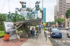 Petronas style taxi and bus stop point in KLCC city center Royalty Free Stock Image