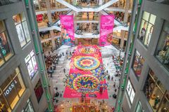 Colorful Diwali Rangoli decoration in Pavilion Kuala Lumpur, Malaysia during Deepavali celebration. Kuala Lumpur, Malaysia - October 14,2017 : Colorful Diwali Royalty Free Stock Photography