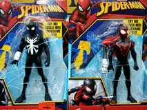 Spider Man toys on shelves in shopping mall. stock images
