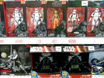 Star wars toys on shelves in shopping mall. stock image