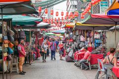 Petaling Street is a chinatown which is located in Kuala Lumpur,Malaysia.It usually crowded with locals as well as tourists. Stock Photos