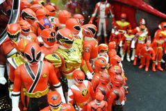 Selected focused of fictional character action figure from American kids TV series Power Rangers. stock photo