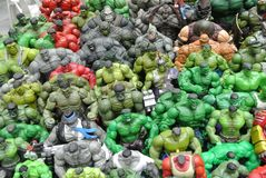 Selected focused of Hulk character action figures from Marvel Comic. stock images
