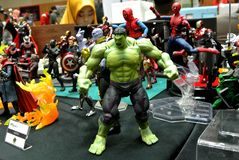 Selected focused of Hulk character action figures from Marvel Comic. stock image