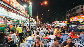 KUALA LUMPUR, MALAYSIA - October 4: Timelapse Diners eating on Petaling Street in October 4, 2015