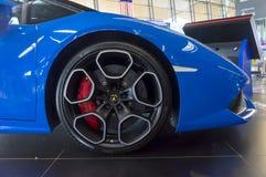 Lamborghini Huracan LP610-4 2017 car model. KUALA LUMPUR, MALAYSIA - SEPT 10, 2017 : Rims, Tire and Brakes from Lamborghini Huracan LP610-4 2017 car model prizes Stock Photo
