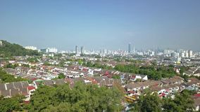 Panning view of aerial footage over suburbs of Kuala Lumpur,Malaysia. stock video footage