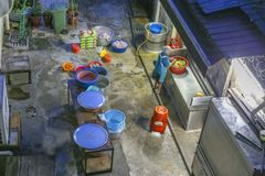 Kuala Lumpur, Malaysia - 2017 04 29. Worker Preparing Food in Outdoor Kitchen Area at the Back of Restaurant in Kuala Lumpur. stock photography