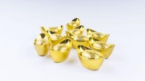 Kuala Lumpur, Maleisië - December 13, 2017: Close-up van Chinese nieuwe Year's Gouden Sycees of gouden baar Stock Foto's