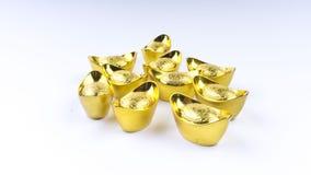 Kuala Lumpur, Maleisië - December 13, 2017: Close-up van Chinese nieuwe Year's Gouden Sycees of gouden baar Royalty-vrije Stock Afbeelding