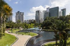 KUALA LUMPUR, MALEISIË, 13 December, 2017: KLCC-het Park is een openbaar Park Royalty-vrije Stock Foto's