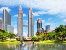 KUALA LUMPUR, MALESIA - Ferbruary 5: Torri di Petronas su Februar Immagine Stock Libera da Diritti