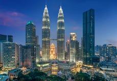 Petronas twin towers at night in Kuala Lumpur, Malaysia. Kuala Lumpur- March 3, 2018:Petronas twin towers at night in Kuala Lumpur, Malaysia stock image