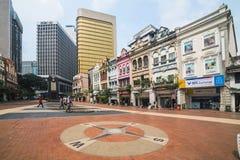 KUALA LUMPUR - Mars 14 2014 Grecian-spanjoren utformar byggnader på den gamla marknadsfyrkanten (den Medan Pasar laman), Malaysia Fotografering för Bildbyråer