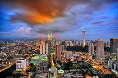 Kuala Lumpur miasto podczas błękitnej godziny Fotografia Stock