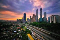 Kuala Lumpur miasto podczas wschodu słońca Obraz Royalty Free