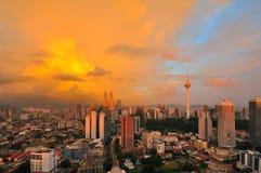Kuala Lumpur miasto podczas złotej godziny Obrazy Royalty Free