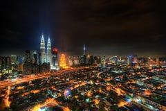 Kuala Lumpur miasto przy nocą Zdjęcie Royalty Free