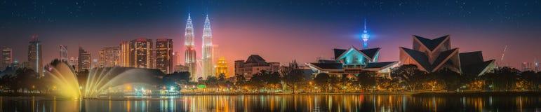 Kuala Lumpur nattlandskap, slotten av kultur Royaltyfria Bilder