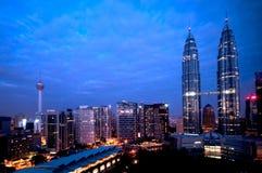Kuala Lumpur nattsikt Arkivbild