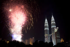 Kuala Lumpur New Year Fireworks Display Royalty Free Stock Photography